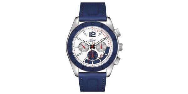 Pánské ocelové hodinky s modrým páskem Lacoste