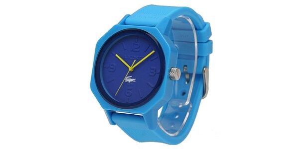 Modré hodinky se žlutými rafičkami Lacoste