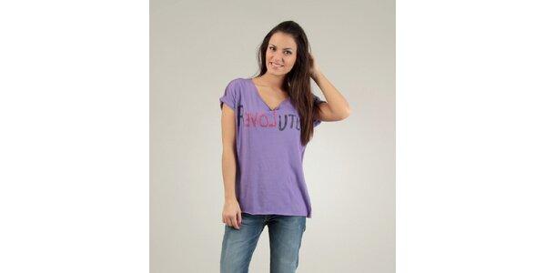 Dámské fialové triko Free for Humanity s kamínky