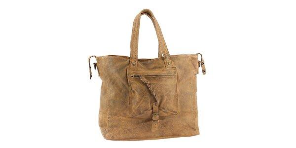 Dámská světle hnědá kabelka s kapsou Amylee