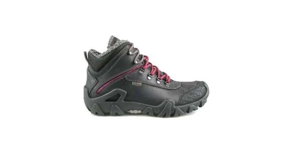 Dámské černé zimní boty s červenými tkaničkami Numero Uno