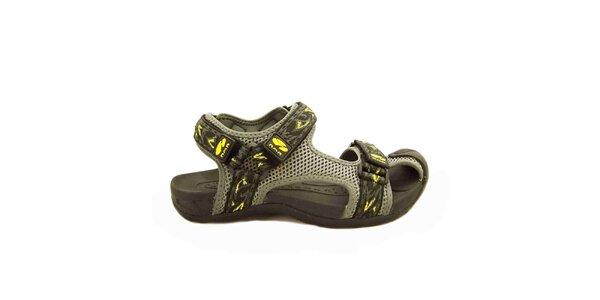 Dámské šedé sandály s pásky na suchý zip Numero Uno