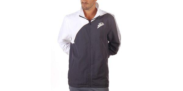 Pánská bílo-antracitová sportovní bunda Adidas