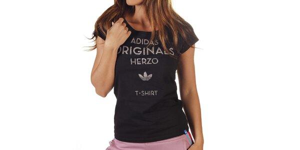 Dámské černé tričko s šedým nápisem Adidas