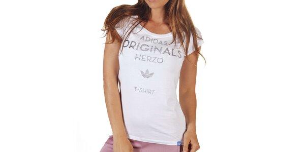 Dámské bílé tričko s šedým nápisem Adidas