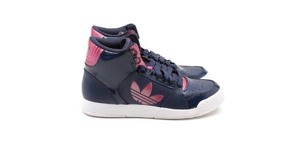 Dámské tmavě modré kotníkové tenisky s růžovými prvky Adidas