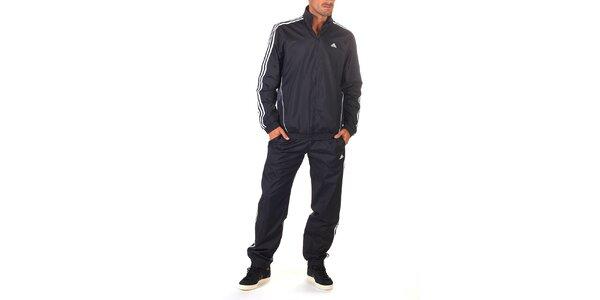 Pánská černá sportovní souprava s bílými proužky Adidas