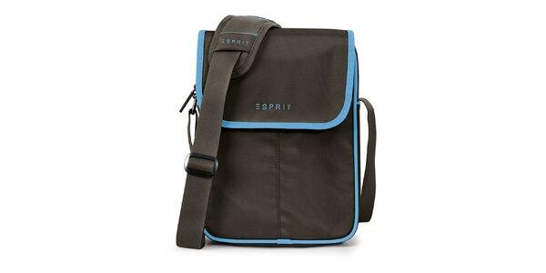Hnědá taška na tablet s modrými prvky Esprit