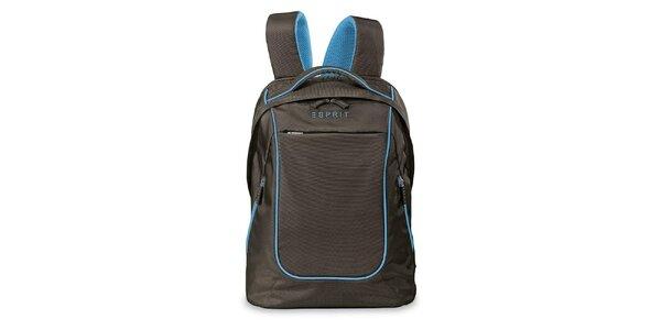 Hnědý lehký batoh s modrými prvky Esprit