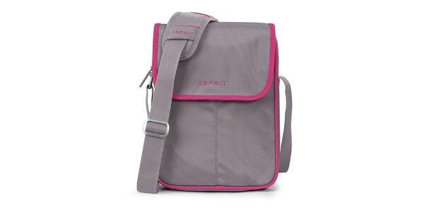 Šedá taška na tablet s růžovými prvky Esprit