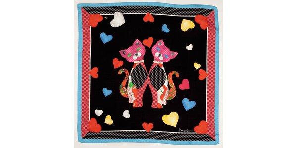 Dámský černý hedvábný šátek Braccialini s kočičkami