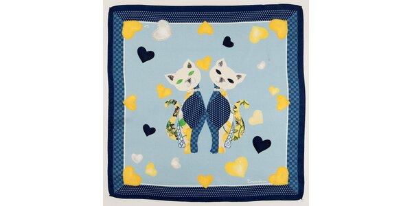 Dámský modrý hedvábný šátek Braccialini s kočičkami