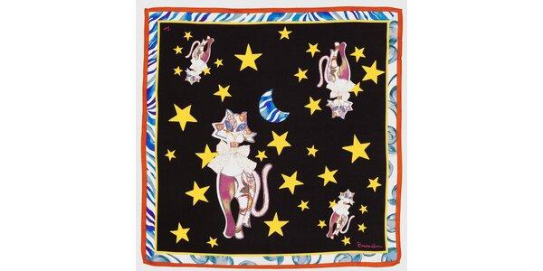 Dámský černý hedvábný šátek Braccialini s kočkami