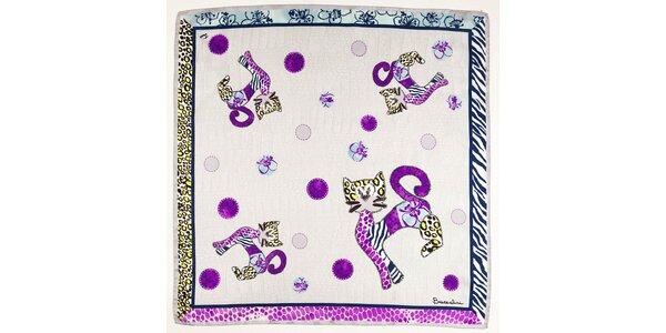 Dámský fialový hedvábný šátek Braccialini s kočkami