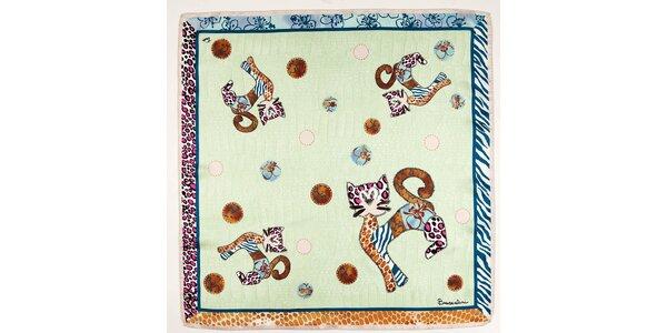 Dámský zelený hedvábný šátek Braccialini s kočkami