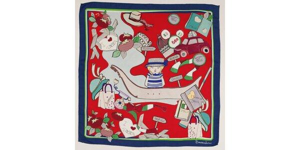 Dámský červený hedvábný šátek Braccialini s italským motivem