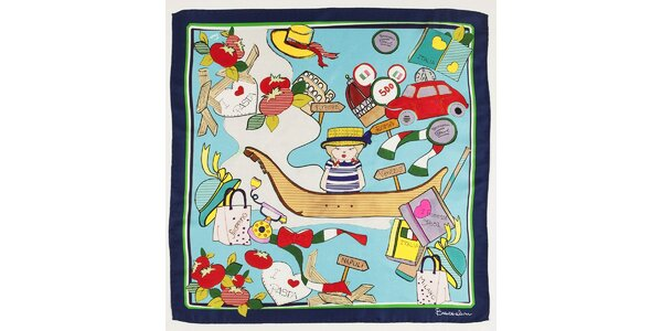 Dámský modrý hedvábný šátek Braccialini s italským motivem