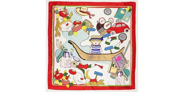 Dámský hedvábný šátek Braccialini s italským motivem