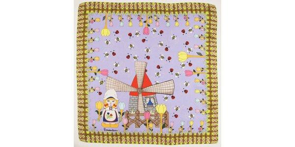 Dámský světle fialový hedvábný šátek Braccialini s holandským motivem