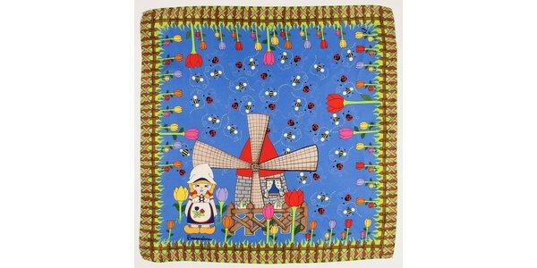 Dámský modrý hedvábný šátek Braccialini s holandským motivem