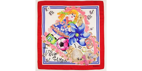 Dámský hedvábný šátek Braccialini s dětským motivem