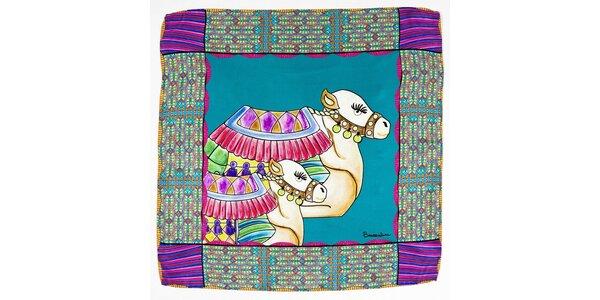 Dámský tyrkysovo-fialový hedvábný šátek Braccialini s velbloudy