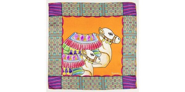 Dámský oranžovo-fialový hedvábný šátek Braccialini s velbloudy