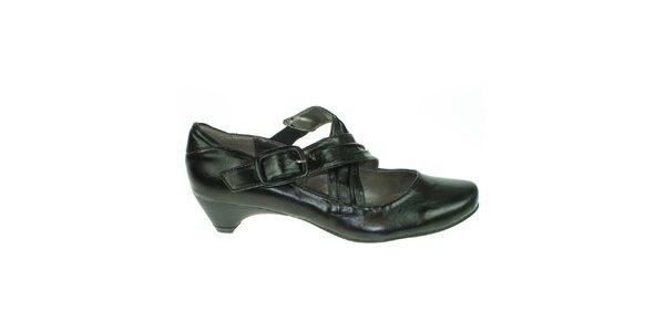 Dámské černé boty s přezkovým zapínáním Toscania