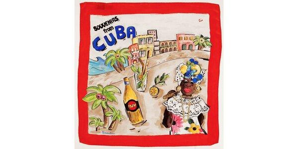 Dámský červený hedvábný šátek Braccialini s kubánským motivem