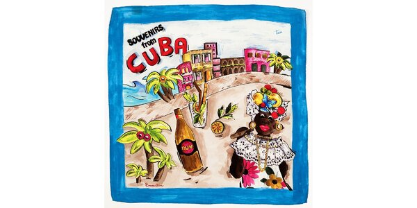 Dámský modrý hedvábný šátek Braccialini s kubánským motivem