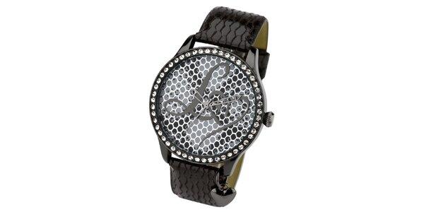Dámské tmavé hodinky s kamínky Lipsy