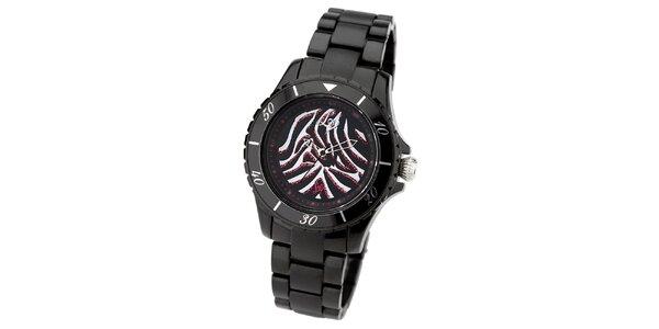 Dámské černé hodinky s barevným ciferníkem Lipsy