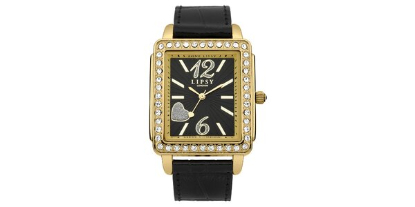 Dámské černo-zlaté hodinky Lipsy