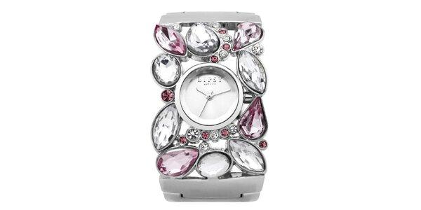 Dámské stříbrné hodinky s růžovými kamínky Lipsy
