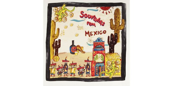 Dámský hedvábný šátek Braccialini s mexickým motivem