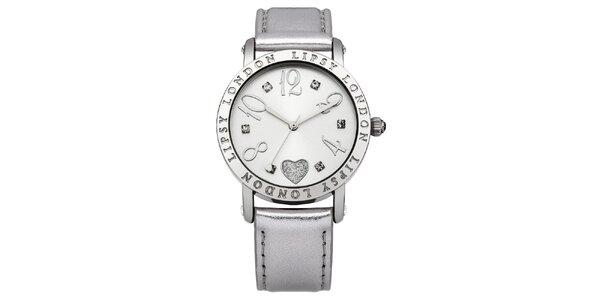 Dámské stříbrné hodinky s nápisy Lipsy