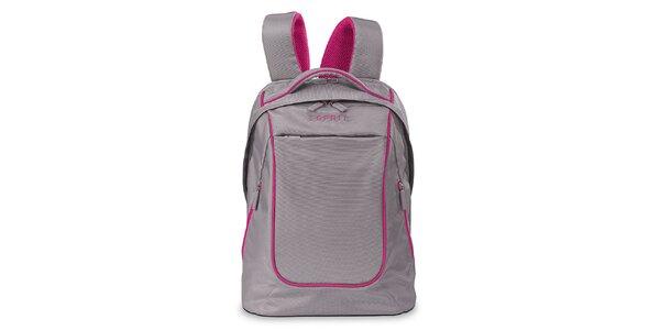 Šedý lehký batoh s růžovými prvky Esprit