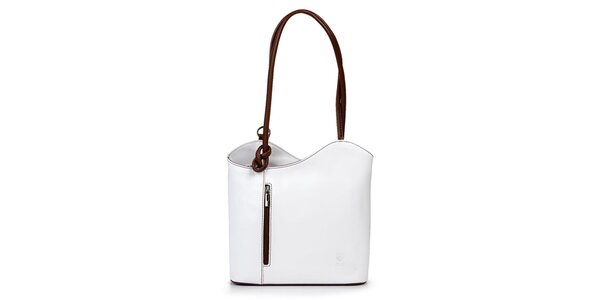 Dámská bílá kožená kabelka asymetrického střihu Giulia