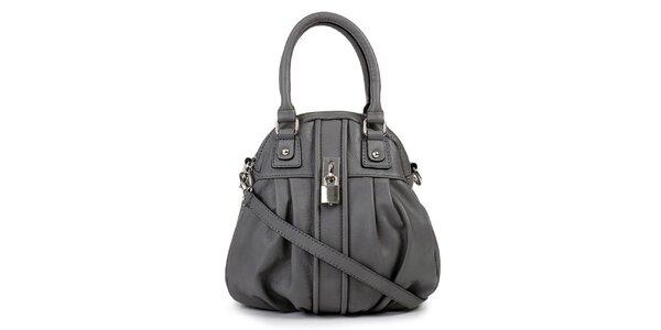 Dámská šedá kožená kabelka se zámečkem Giulia