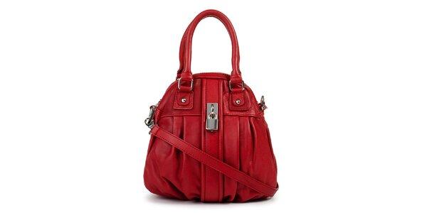Dámská červená kožená kabelka se zámečkem Giulia