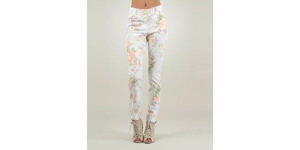Dámské bílé kalhoty Lilly´s Mood s květinovým potiskem