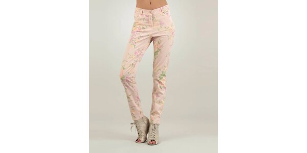 Dámské růžové kalhoty Lilly´s Mood s květinovým potiskem