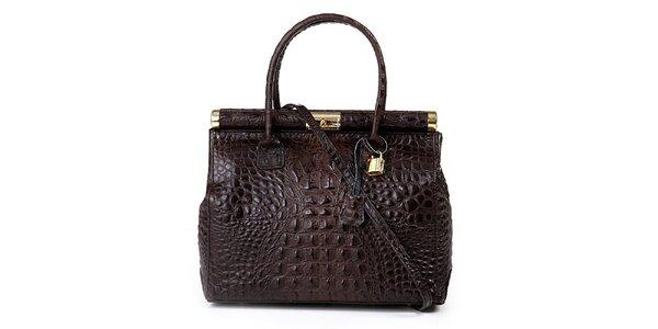 Dámská tmavě hnědá kožená kabelka s krokodýlím vzorem Giulia