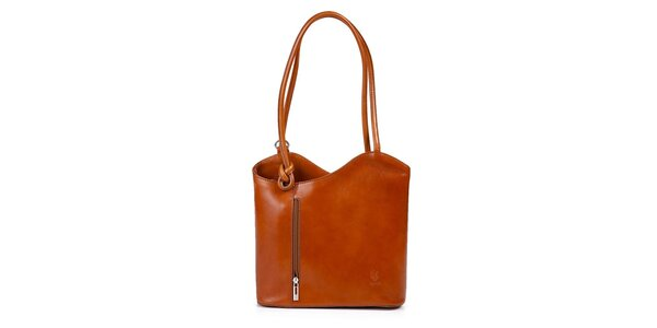 Dámská koňaková kožená kabelka asymetrického střihu Giulia