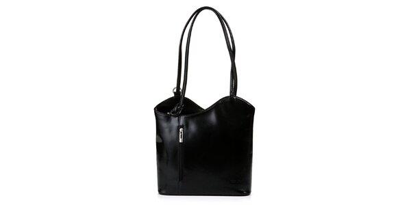 Dámská černá kožená kabelka asymetrického střihu Giulia