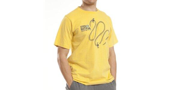Pánské žluté tričko s potiskem Alpine Pro
