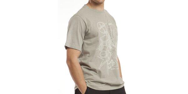 Pánské šedo-zelené bavlněné tričko Alpine Pro