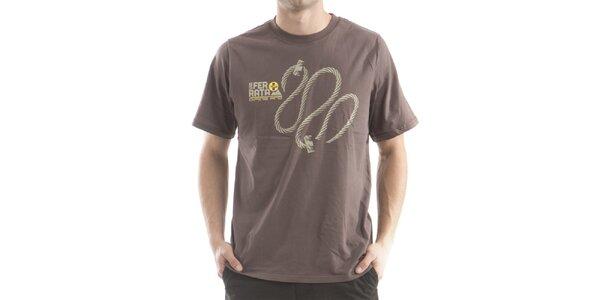 Pánské hnědé tričko s potiskem Alpine Pro