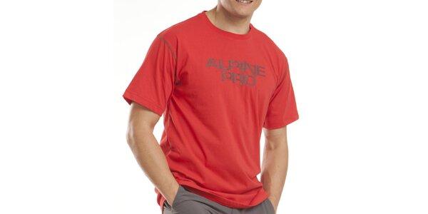 Pánské červené tričko s nápisem Alpine Pro