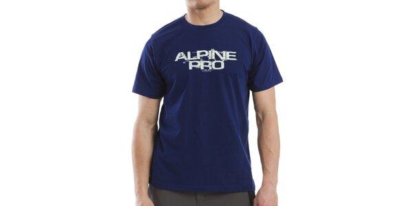 Pánské modré tričko s bílým nápisem Alpine Pro